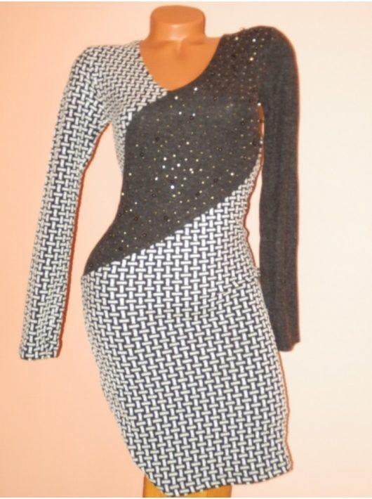 Csodaszép,gyöngyös,strasszos,V nyakú,mintás ruha! S/M,M/L,L/XL