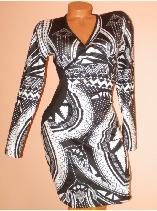 Csodaszép,átlapolt,fekete-fehér görög mintás ruha! S,M,L,XL