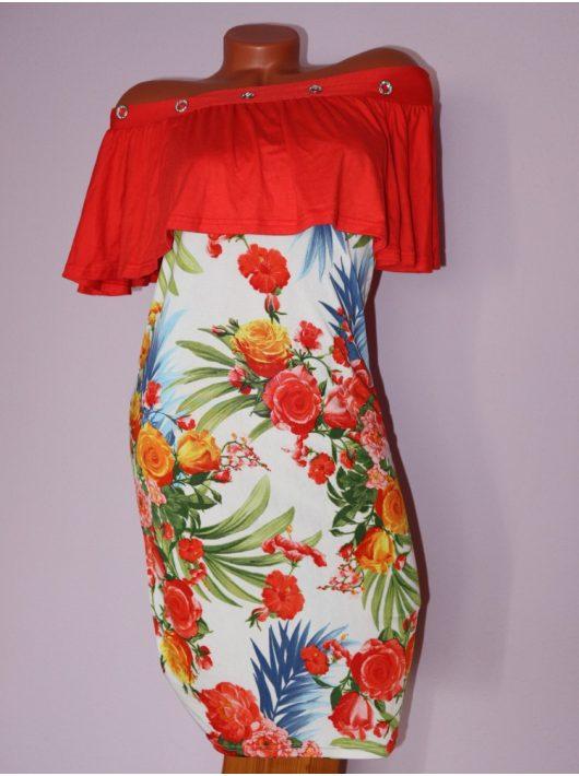 Csodaszép,virágos,fodros,vállra húzható YESSTORY ruha! Több szín! S-M
