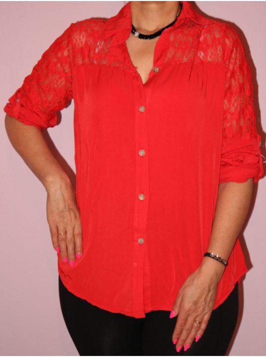 Csipkebetétes,roll-up ujjú ing!  Több szín!  L-XL